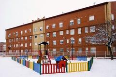 多雪的操场 库存图片