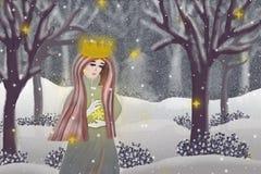 多雪的木头的冬天女王/王后 免版税库存照片