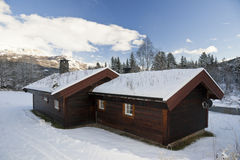 多雪的村庄 库存图片