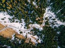 多雪的森林鸟瞰图有路的 从上面夺取与寄生虫 免版税库存照片