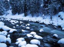 多雪的河 库存图片