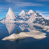 多雪的海岸的森林 免版税库存图片