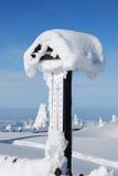 多雪的温度计 库存照片