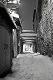 多雪的街道 免版税库存照片