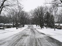 多雪的路 免版税图库摄影