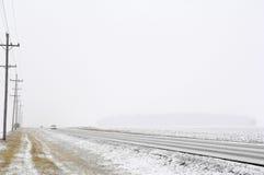 多雪的路 免版税库存图片