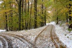 多雪的运输路线 免版税图库摄影