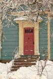 多雪的门道入口 库存照片