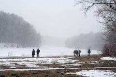 多雪的领域的人们 免版税库存照片