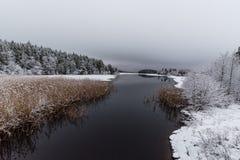 多雪的风景俯视的水和冰 免版税库存照片