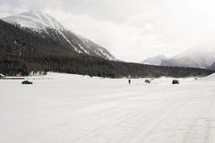 多雪的风景全景视图和山和汽车在雪在阿尔卑斯瑞士 图库摄影