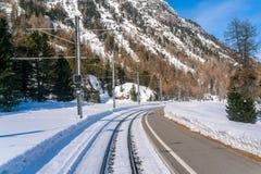 多雪的风景看法与铁路的 库存照片