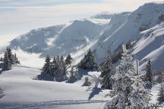 多雪的montains 库存图片