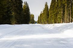 多雪离开的路 库存照片
