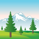 多雪美丽的例证的山 库存照片