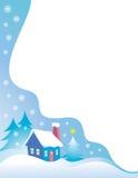 多雪蓝色边界的圣诞夜 免版税库存图片