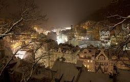 多雪karlovy的晚上变化 免版税库存照片