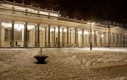 多雪karlovy的晚上变化 图库摄影