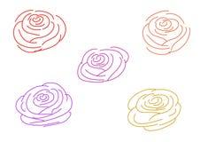 多颜色上升了在白色背景的概述 库存例证
