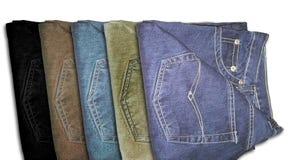 多颜色牛仔裤长裤 免版税图库摄影