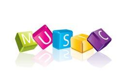 多维数据集在音乐上写字 免版税库存照片