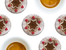 多份杯形蛋糕和咖啡 免版税库存照片