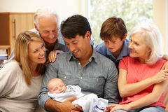 多代的家庭画象 图库摄影
