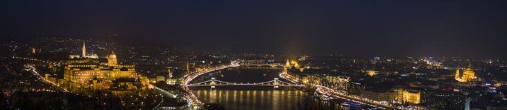 夜、多瑙河、议会、大教堂和城堡的布达佩斯 免版税库存图片