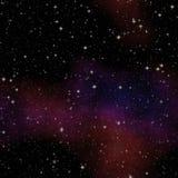 夜与五颜六色的云彩的宇宙天空,与许多星的无缝的夜空 向量例证