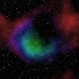 夜与五颜六色的云彩的宇宙天空,与许多星的无缝的夜空 皇族释放例证