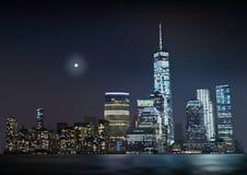 夜与发光的摩天大楼的城市地平线 库存图片