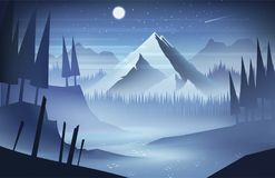 夜与星的山风景 库存照片