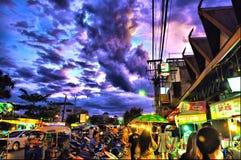 夜义卖市场在清迈 库存照片