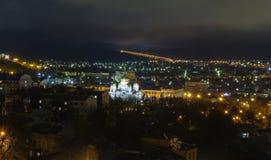 夜五山城的全景 免版税库存图片