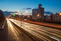 夜交通在北京 免版税库存照片
