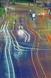 夜交通在布拉格 图库摄影