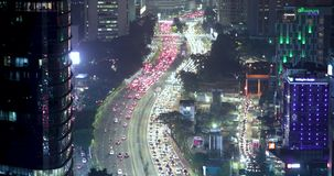 夜交通在高峰时间在雅加达市 股票视频