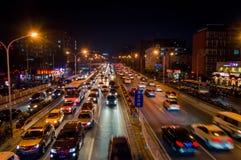 夜交通堵塞在北京2 库存图片