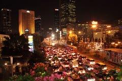 夜交通堵塞 免版税库存照片