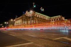 夜低角度视图的维也纳,奥地利 图库摄影