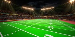 夜体育场竞技场橄榄球场 免版税库存图片