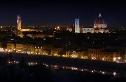 夜佛罗伦萨,意大利全景  库存图片