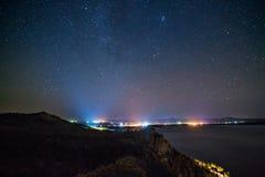 夜光在Burabay 库存图片