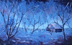 夜冬天农村风景 库存照片