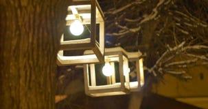 夜冬天室外灯笼 股票视频