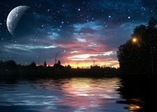 夜反射 库存照片