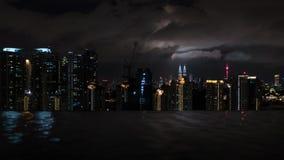 夜吉隆坡,从屋顶水池的看法 免版税库存照片