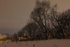 夜和小村庄 库存图片