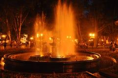 夜喷泉在傲德萨,乌克兰 免版税图库摄影