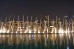 夜喷泉迪拜 图库摄影
